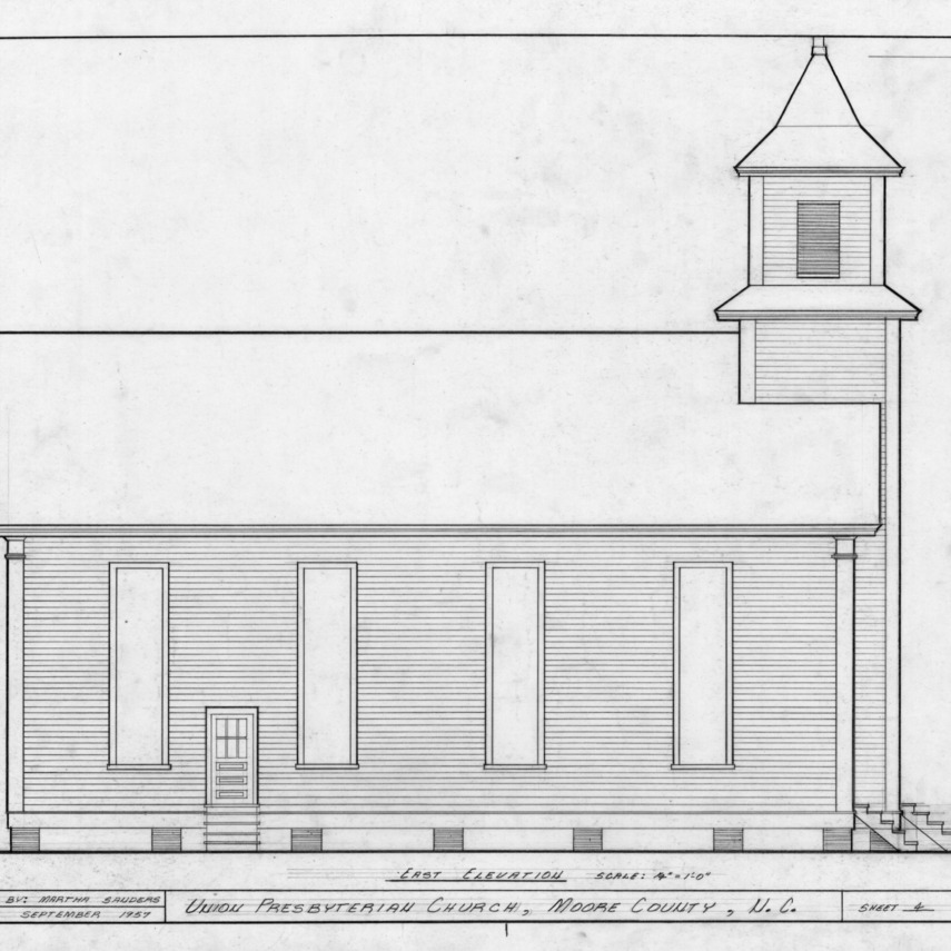 East elevation, Union Presbyterian Church, Moore County, North Carolina