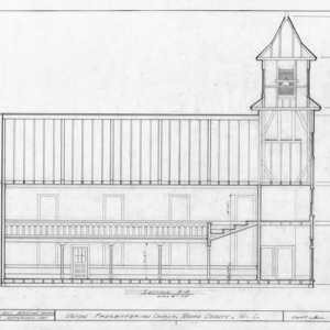 Longitudinal section, Union Presbyterian Church, Moore County, North Carolina