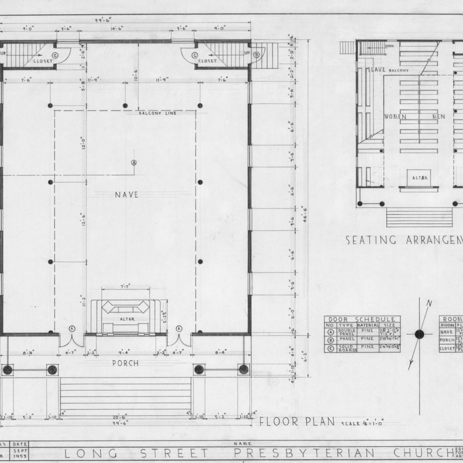 Floor plans and schedules, Longstreet Presbyterian Church, Fort Bragg, North Carolina