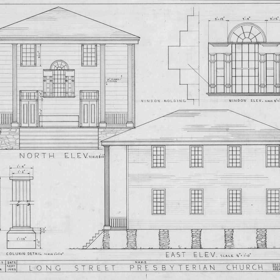 North elevation, east elevation, and details, Longstreet Presbyterian Church, Fort Bragg, North Carolina