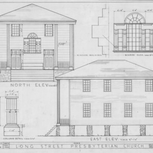 North elevation, east elevation, and details, Longstreet Presbyterian Church, Fort Bragg, North Carolina
