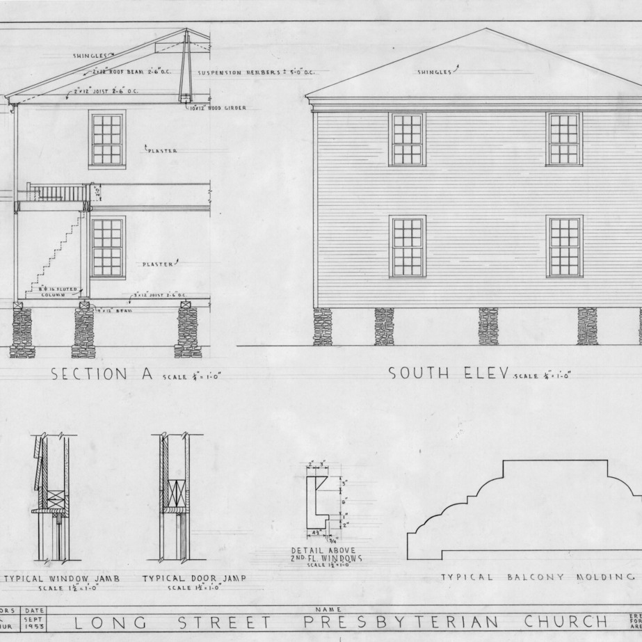Partial cross section, south elevation, and details, Longstreet Presbyterian Church, Fort Bragg, North Carolina