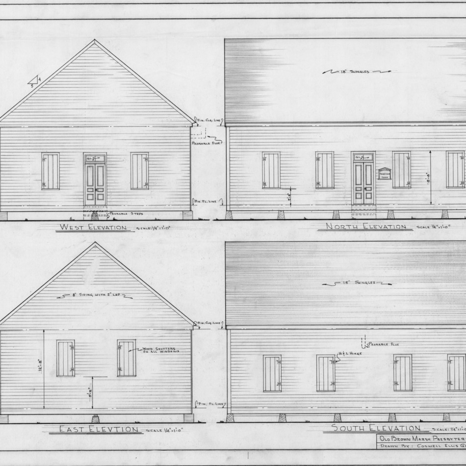 Elevations, Brown Marsh Presbyterian Church, Bladen County, North Carolina