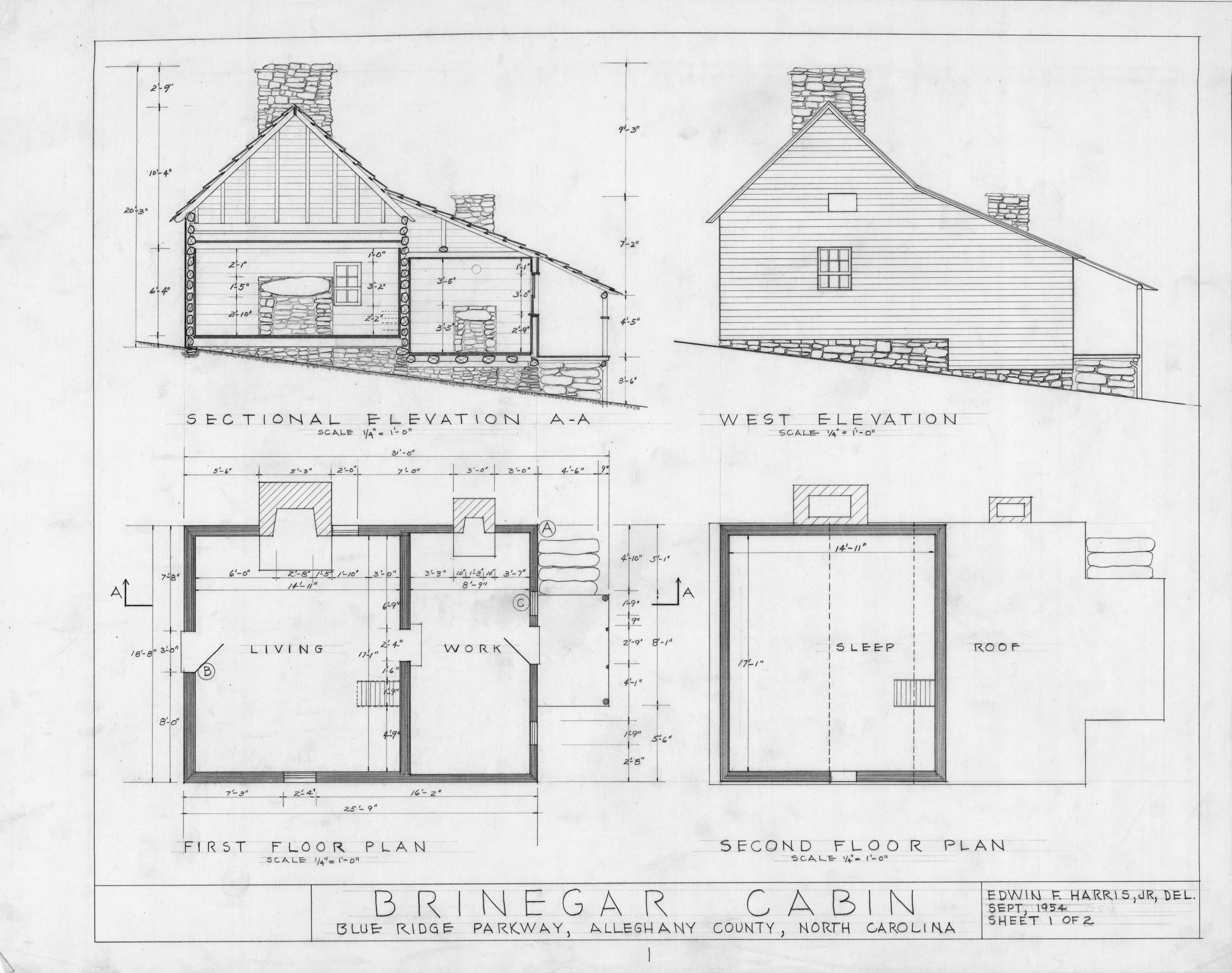Cross section  west elevation  and floor plans  Brinegar House