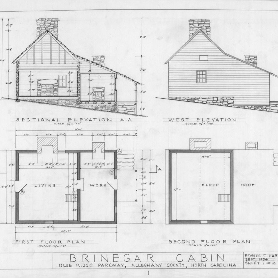 Cross section, west elevation, and floor plans, Brinegar House, Alleghany County, North Carolina