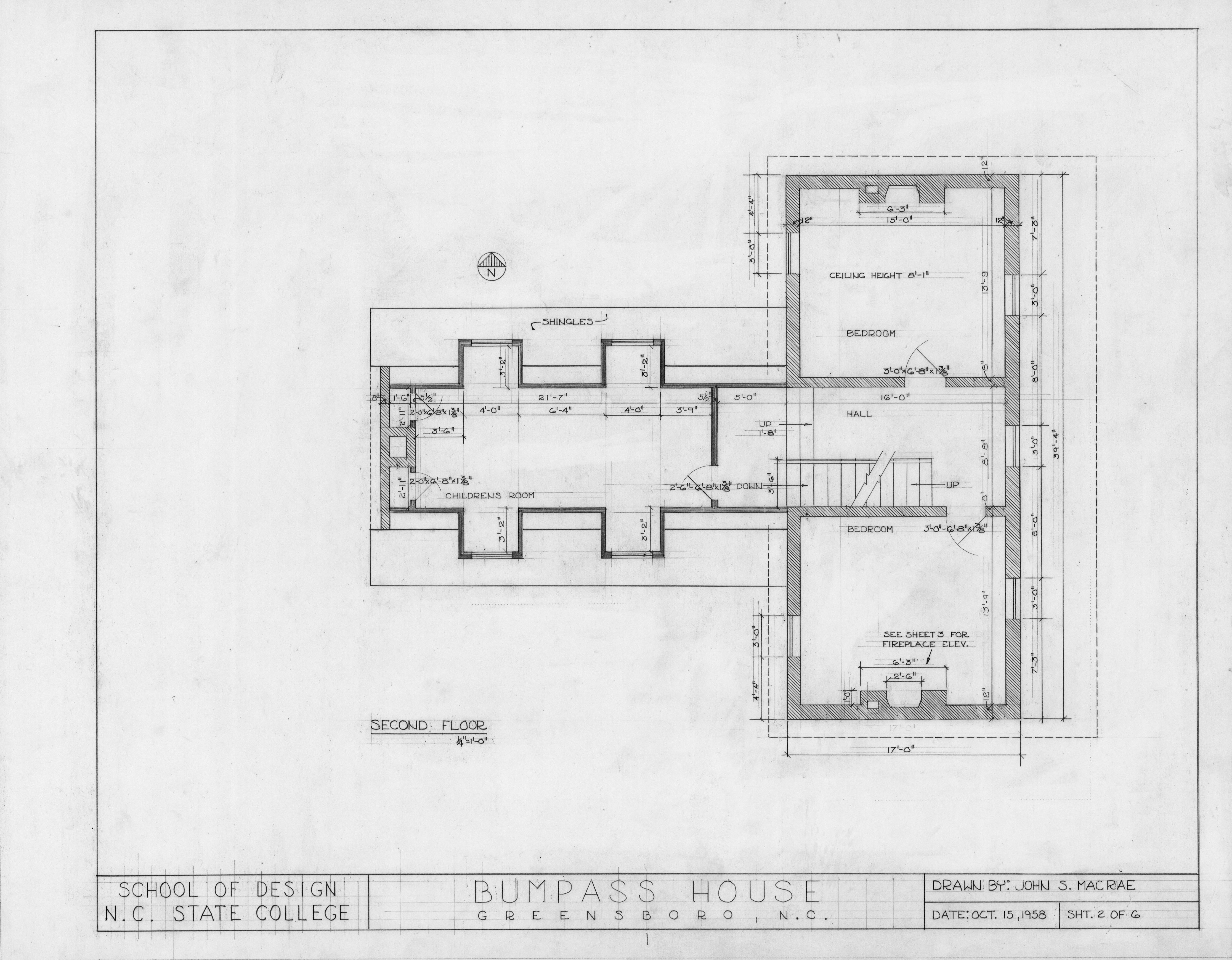 Second Floor Plan Bumpass Troy House Greensboro North