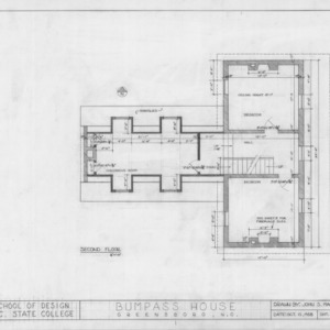 Second floor plan, Bumpass-Troy House, Greensboro, North Carolina