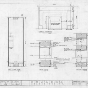 Third floor plan and details, Bumpass-Troy House, Greensboro, North Carolina