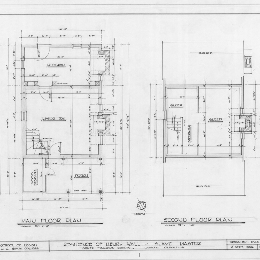 Floor plans, Henry T. Wall House, Franklin County, North Carolina