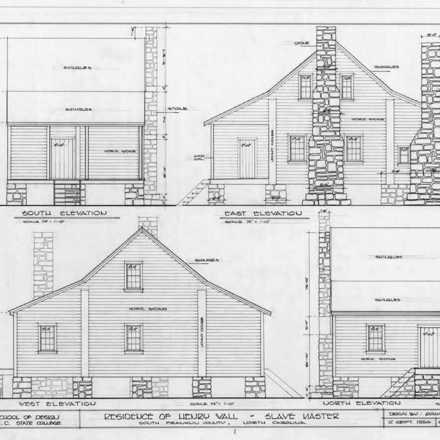 Elevations, Henry T. Wall House, Franklin County, North Carolina