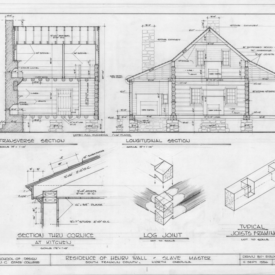 Sections and details, Henry T. Wall House, Franklin County, North Carolina