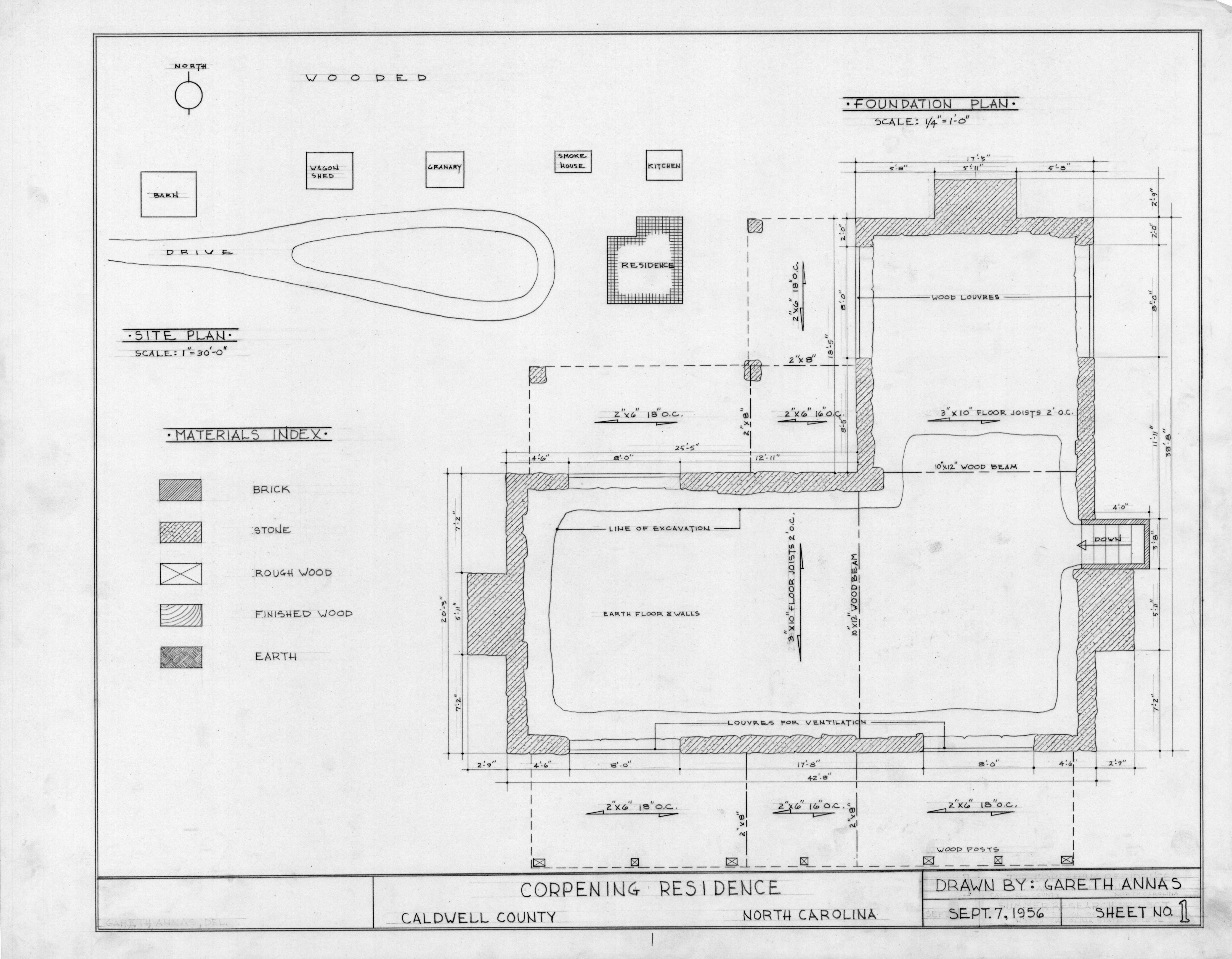 Site Plan Materials Index And Foundation Plan Old