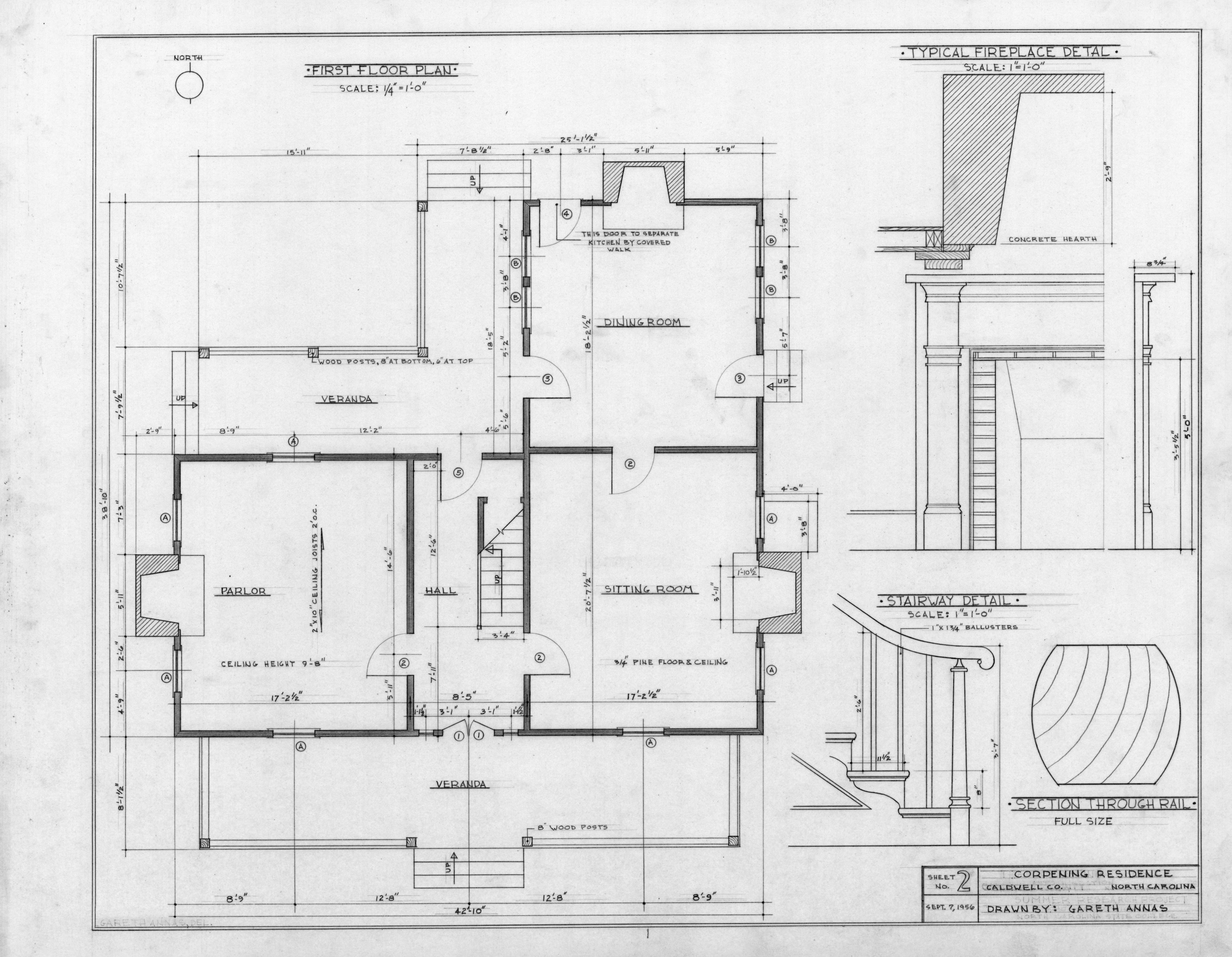 First Floor Plan And Details Old Corpening House
