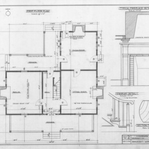 First floor plan and details, Old Corpening House, Caldwell County, North Carolina