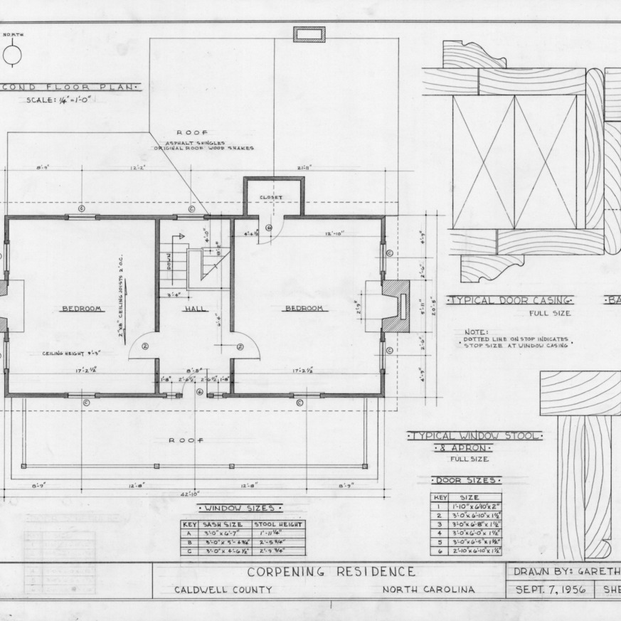 Second floor plan and details, Old Corpening House, Caldwell County, North Carolina