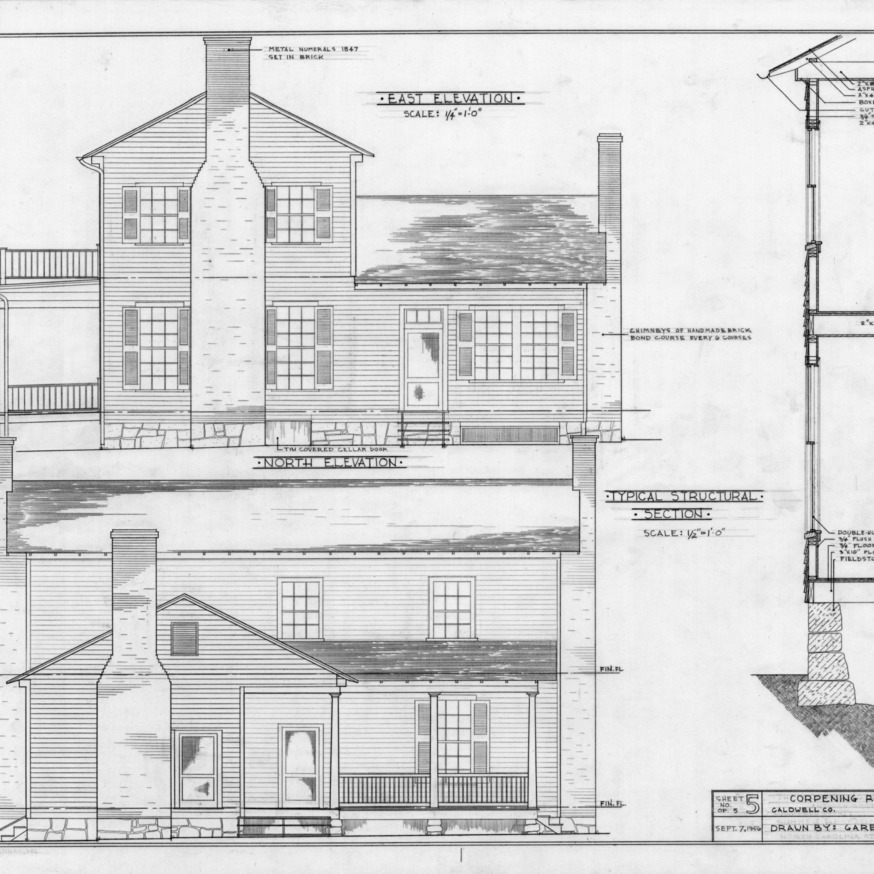 East elevation, north elevation, and structural section, Old Corpening House, Caldwell County, North Carolina
