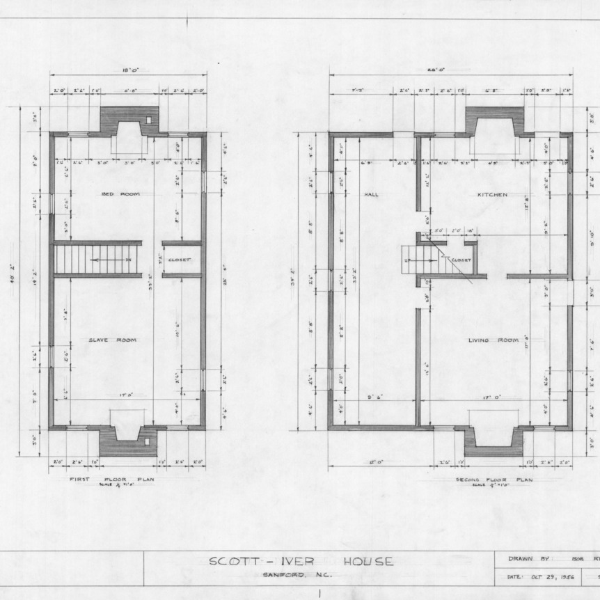 Floor plans, Evandor McIver House, Sanford, North Carolina