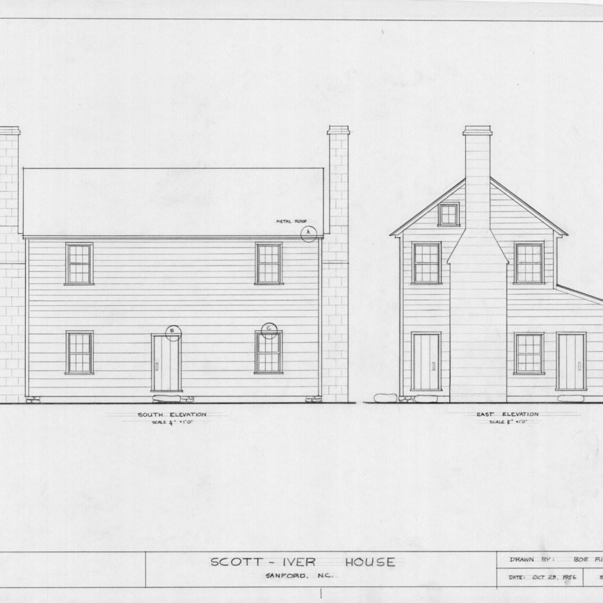 South and east elevations, Evandor McIver House, Sanford, North Carolina