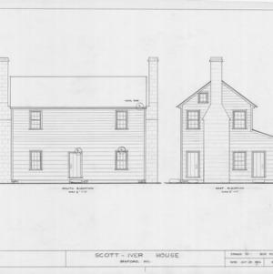 South and east elevations, Evandor McIver House, Sanford, North Carolina