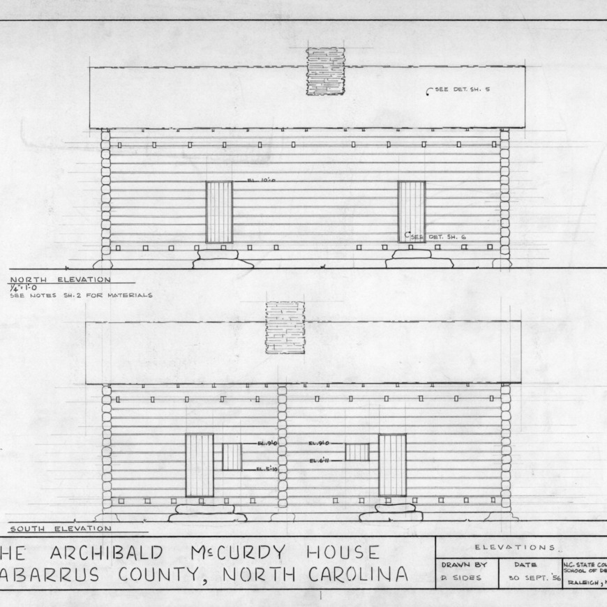 North and south elevations, McCurdy Log House, Cabarrus County, North Carolina