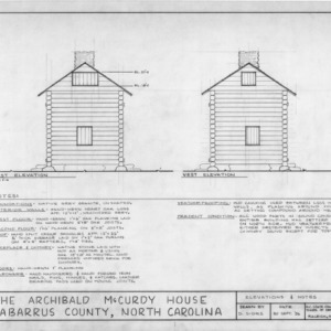East and west elevations, McCurdy Log House, Cabarrus County, North Carolina