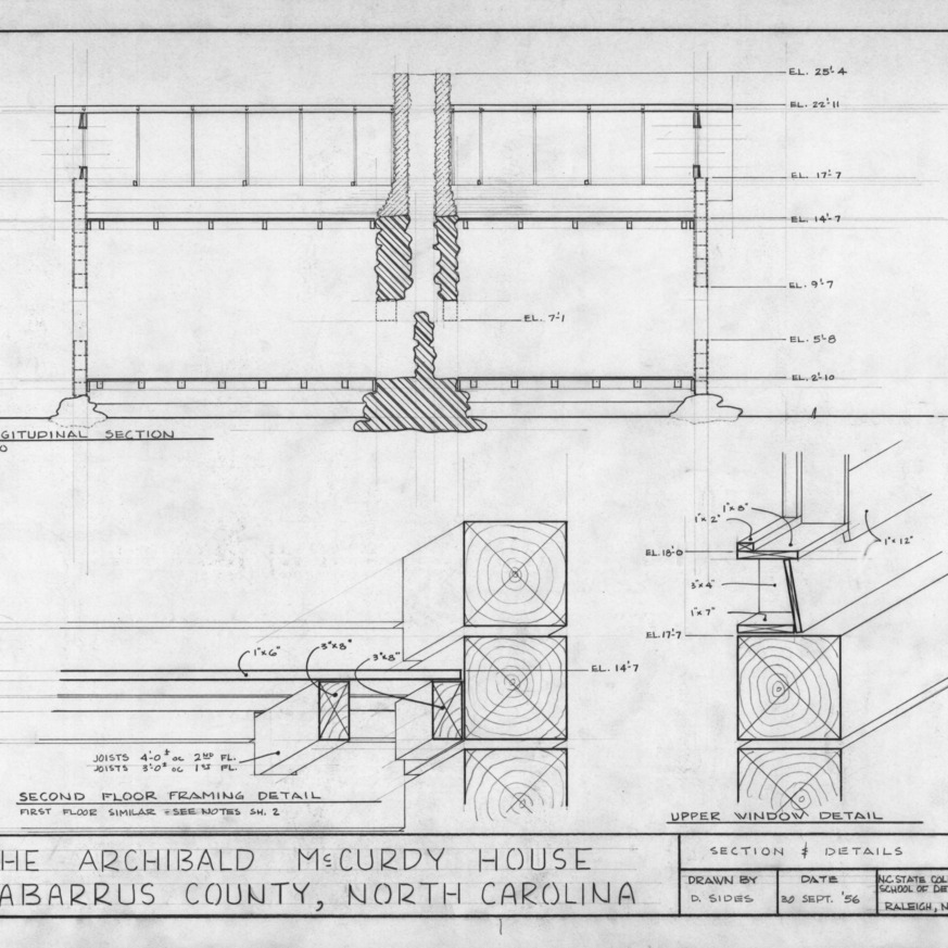 Longitudinal section and details, McCurdy Log House, Cabarrus County, North Carolina