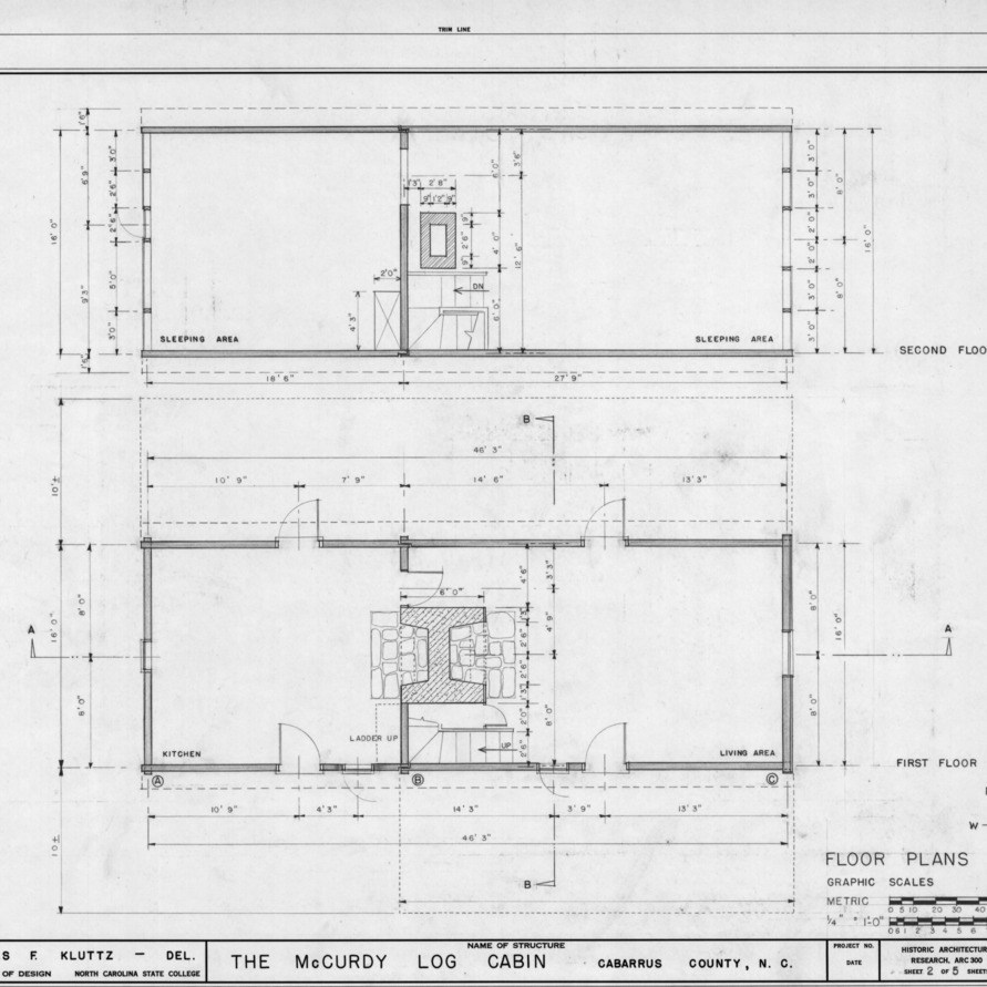 Floor plans, McCurdy Log House, Cabarrus County, North Carolina