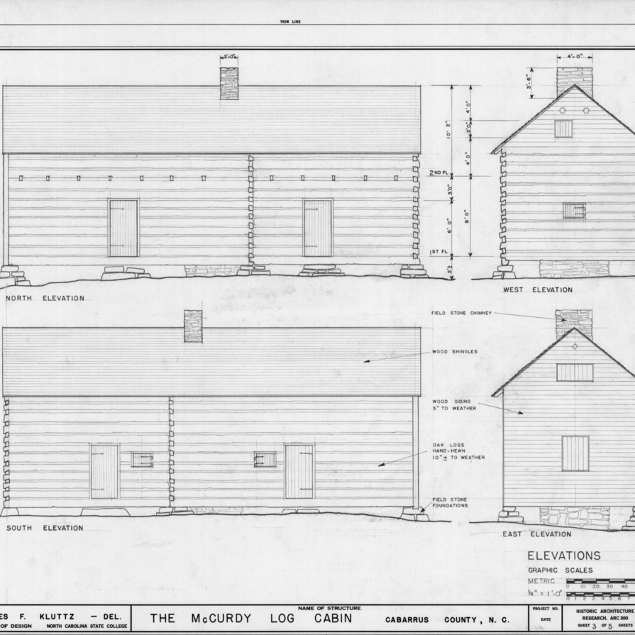 Elevations, McCurdy Log House, Cabarrus County, North Carolina
