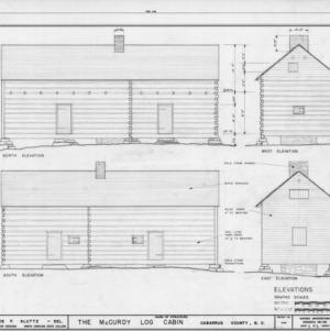 Elevations, McCurdy Log House, Cabarrus County, North Carolina