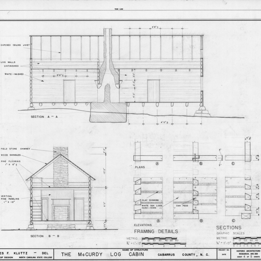 Sections and framing details, McCurdy Log House, Cabarrus County, North Carolina