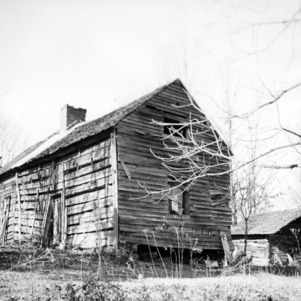 View with outbuilding, McCurdy Log House, Cabarrus County, North Carolina