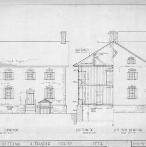 Front elevation and left side sectional elevation, Hezekiah Alexander House, Mecklenburg County, North Carolina