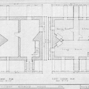 Basement and first floor plans, Hezekiah Alexander House, Mecklenburg County, North Carolina