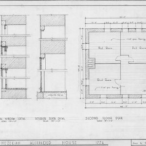 Details and second floor plan, Hezekiah Alexander House, Mecklenburg County, North Carolina