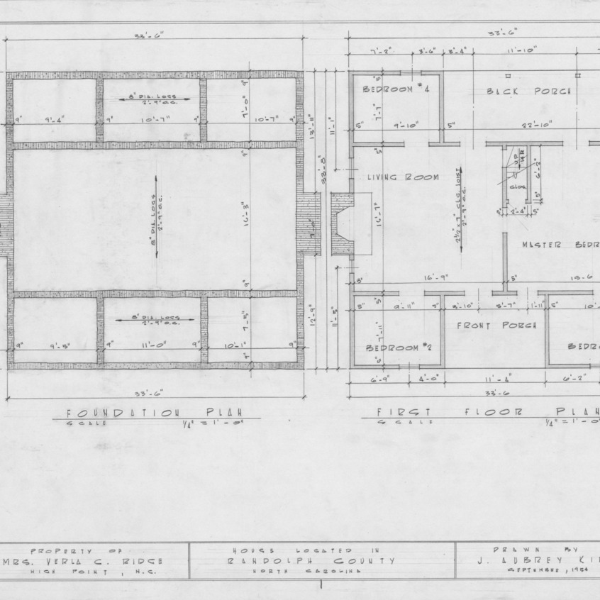 Foundation and first floor plans, Joseph Welborn House, Randolph County, North Carolina