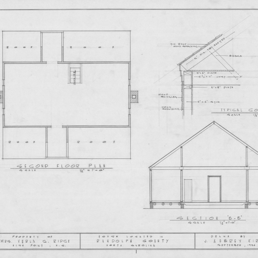 Second floor plan, cross section, and cornice details, Joseph Welborn House, Randolph County, North Carolina