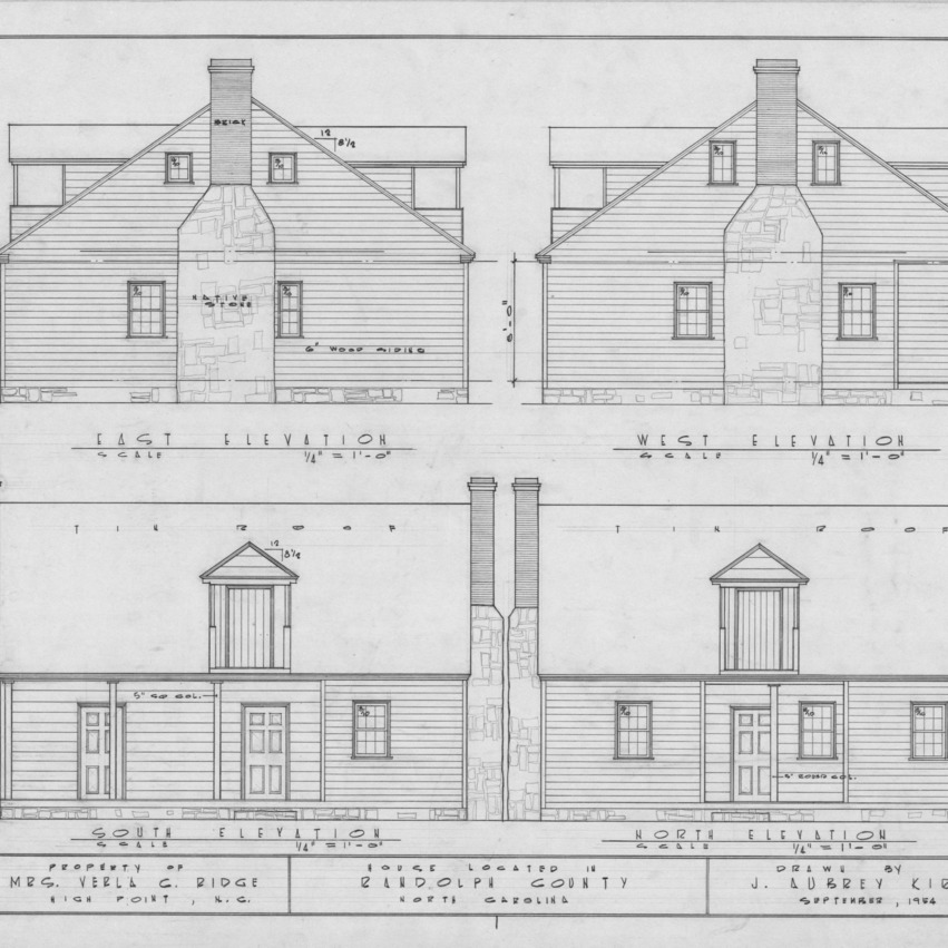 Elevations, Joseph Welborn House, Randolph County, North Carolina