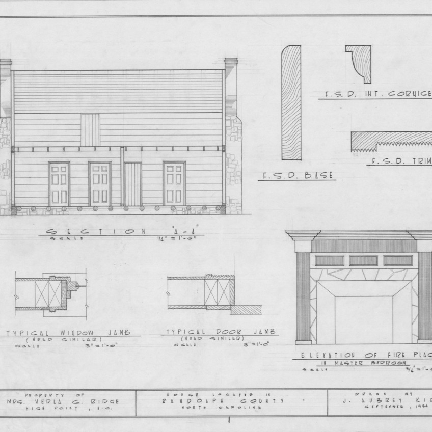 Longitudinal section and details, Joseph Welborn House, Randolph County, North Carolina