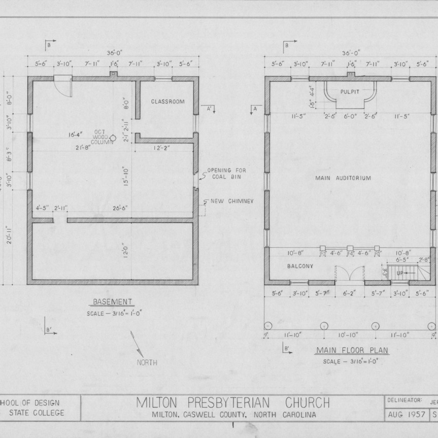 Floor plans, Milton Presbyterian Church, Milton, North Carolina