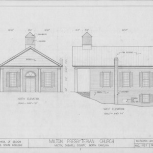 North and west elevations, Milton Presbyterian Church, Milton, North Carolina