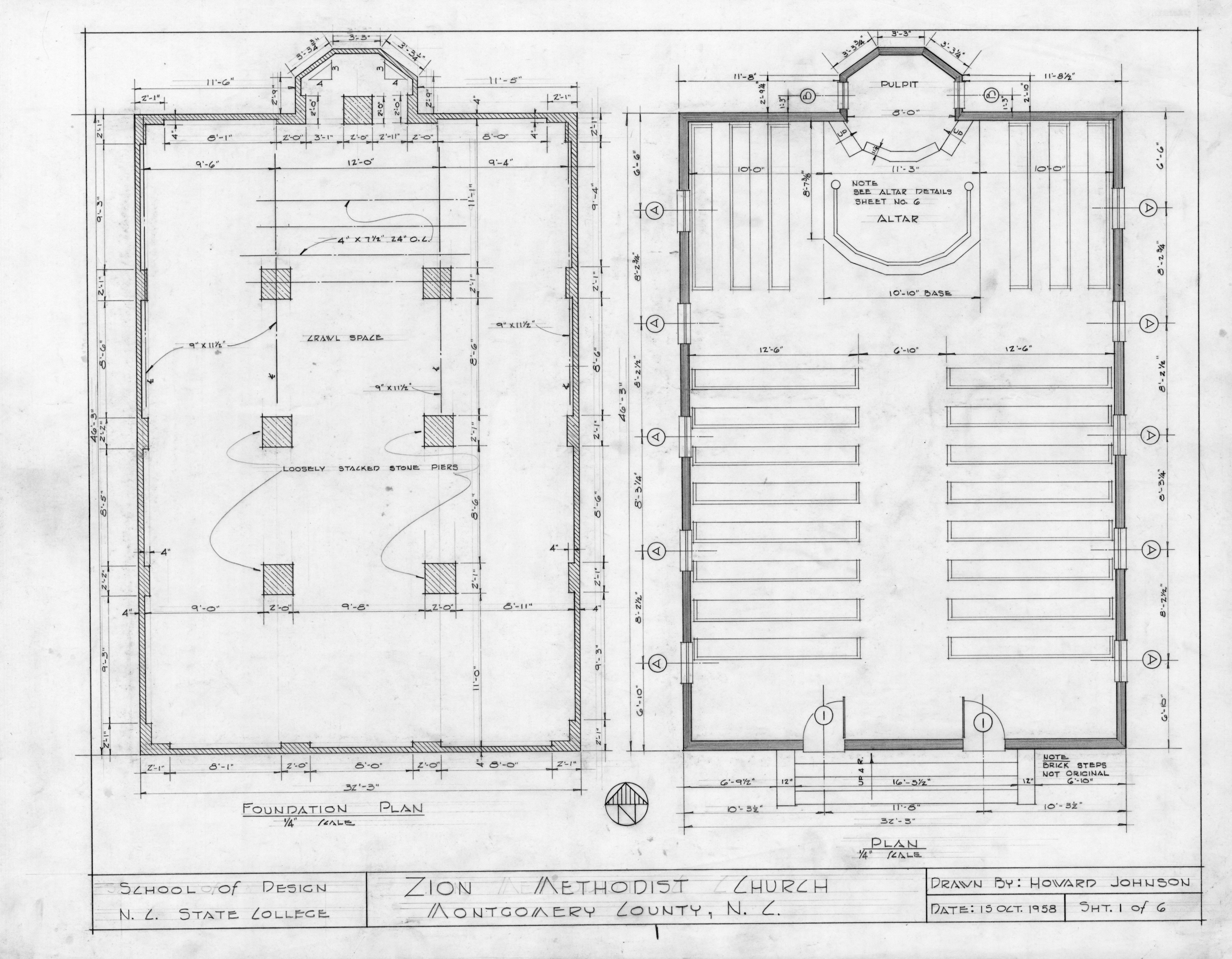 Foundation and floor plans zion methodist church for Church blueprints and floor plans