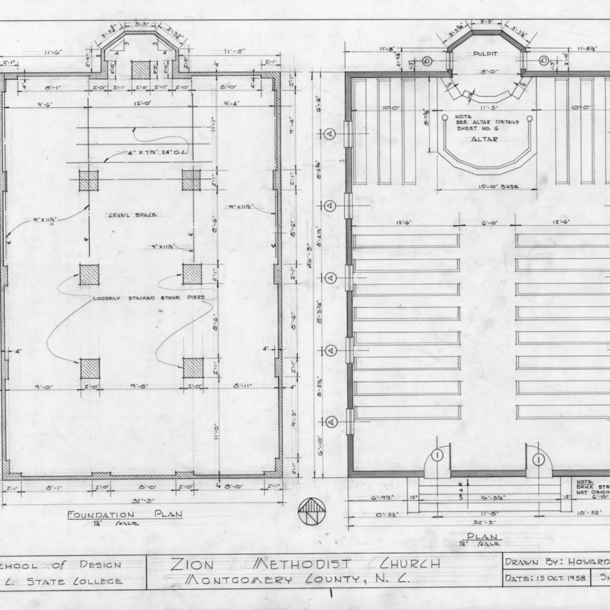 Foundation and floor plans, Zion Methodist Church, Montgomery County, North Carolina