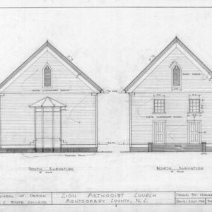 South and north elevations, Zion Methodist Church, Montgomery County, North Carolina