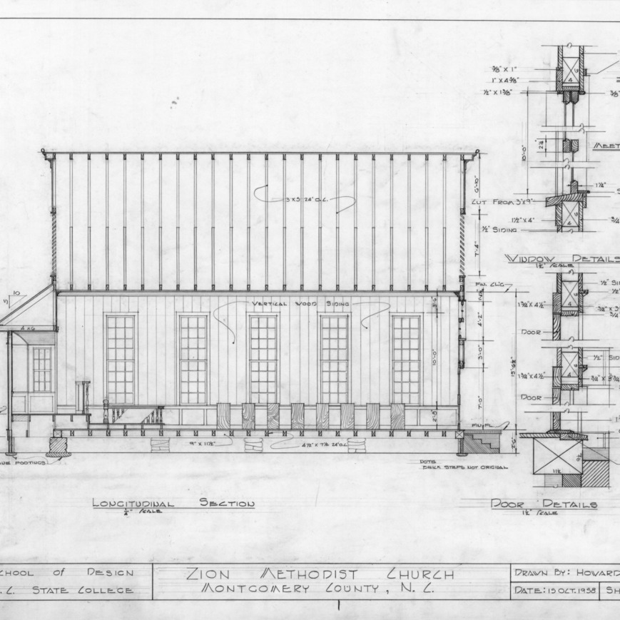 Longitudinal section and details, Zion Methodist Church, Montgomery County, North Carolina