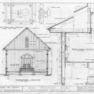 Cross section and details, Zion Methodist Church, Montgomery County, North Carolina