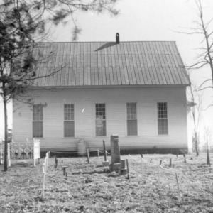 Side view with cemetery, Zion Methodist Church, Montgomery County, North Carolina