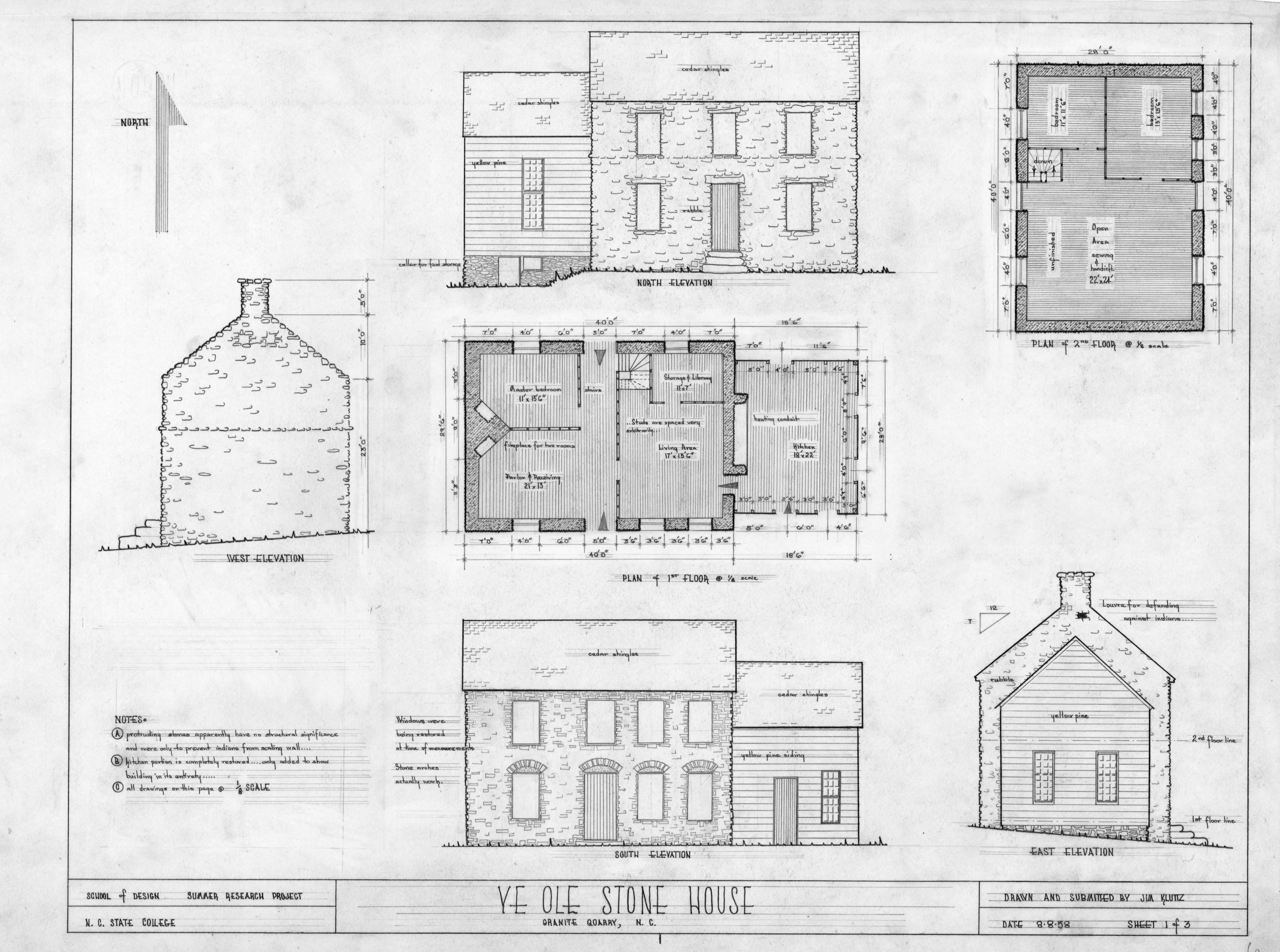 Elevation Plan Notes : Floor plans elevations and notes michael braun house