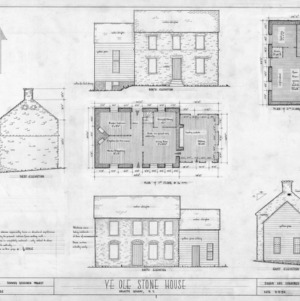 Floor plans, elevations, and notes, Michael Braun House, Rowan County, North Carolina