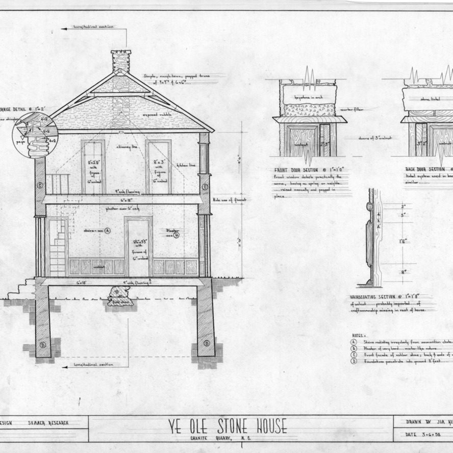 Cross section and details, Michael Braun House, Rowan County, North Carolina