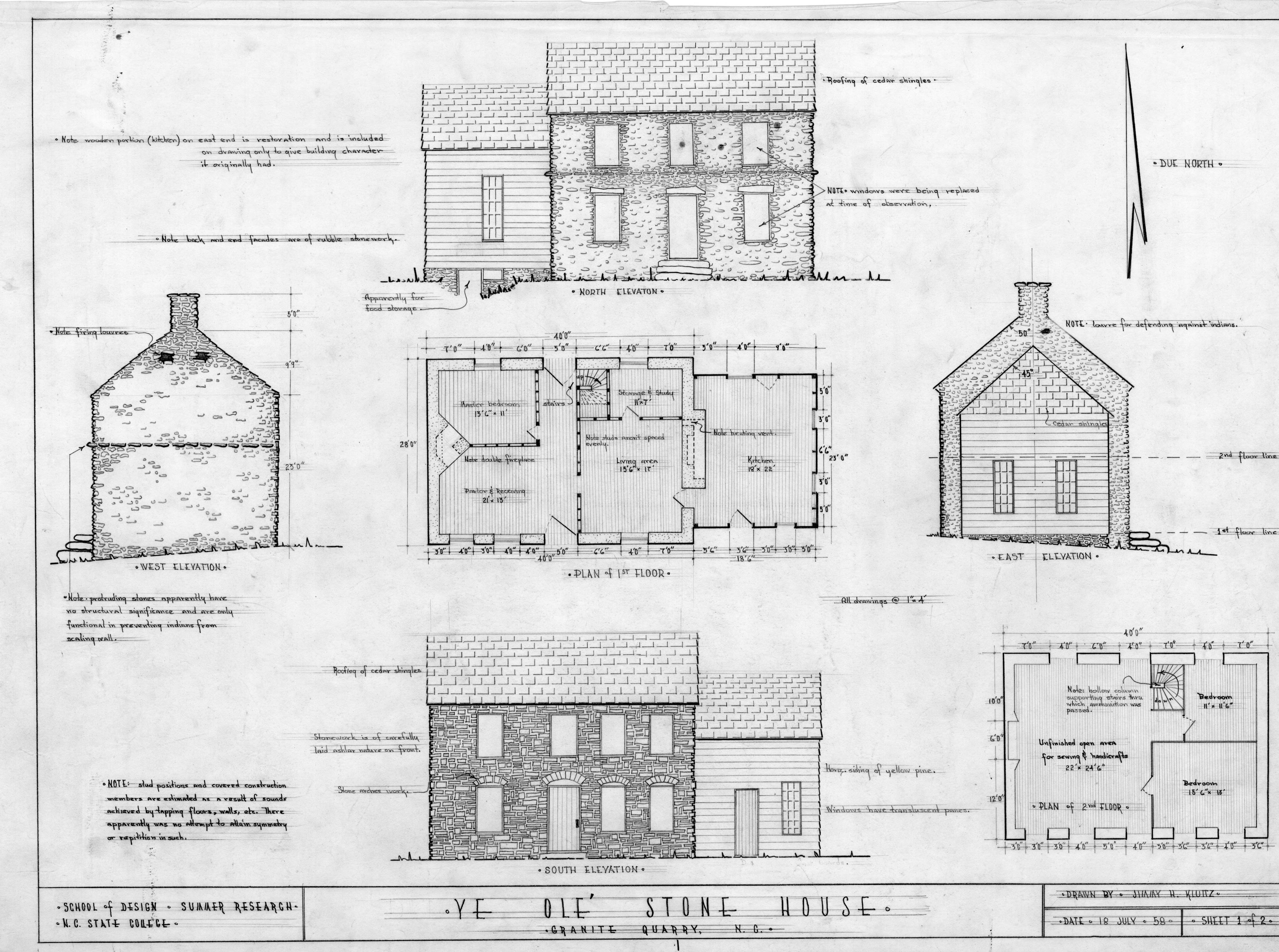 Floor Plan And Elevation Of A House : Elevations and floor plans michael braun house rowan